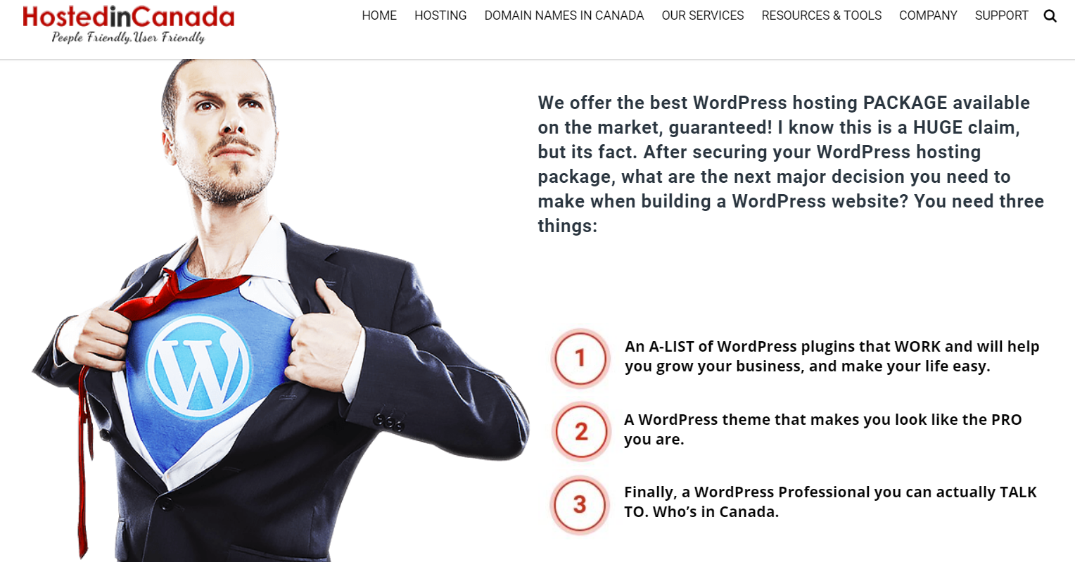 Canadian WordPress hosting packages, hosted in Canada